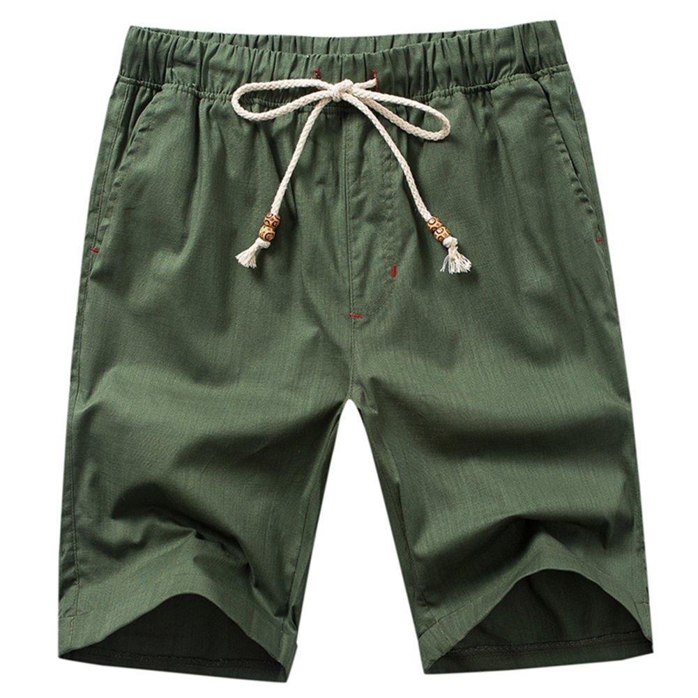HULANG Mens Summer Casual Linen Elastic Waist White Beach Shorts Drawstring
