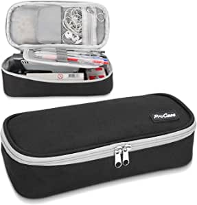ProCase Pen Case Pencil Bag, Portable Pencil Pouch Stationery Holder Storage Organizer Big Capacity for Pens Pencils Highlighters Gel Pen Markers School Supplies Students Office Clerks –Black,Single Zipper