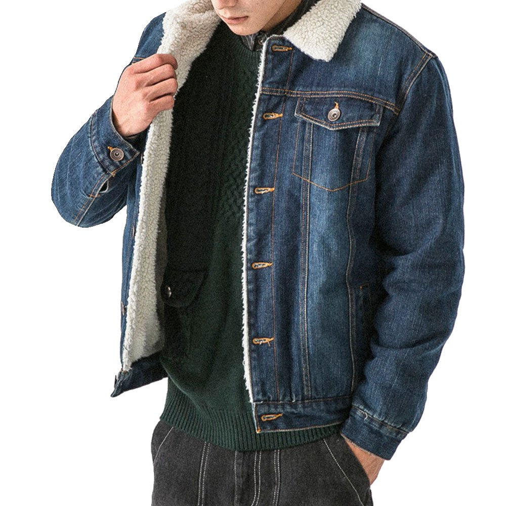 LINGMIN Men's Winter Fleece Lined Denim Jacket Fur Collar Quilted Jean Coats Outwear M_0608DenimJacket05