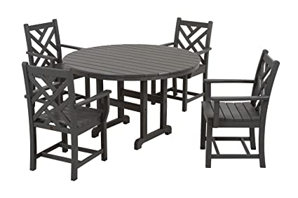 POLYWOOD PWS122 1 GY Chippendale 5 Piece Dining Set, Slate Grey