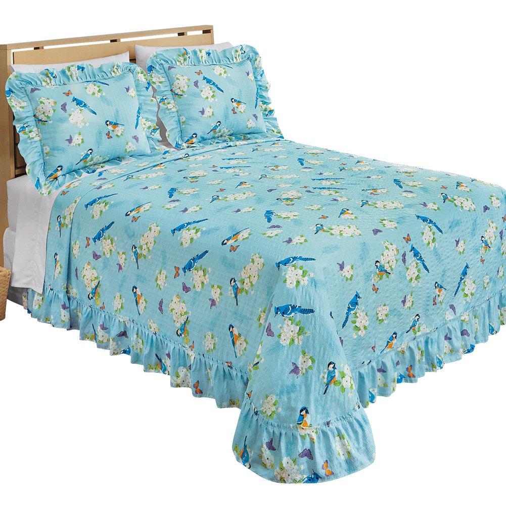 Songbird Plisse Ruffled Edge Bedspread, Birds, Queen