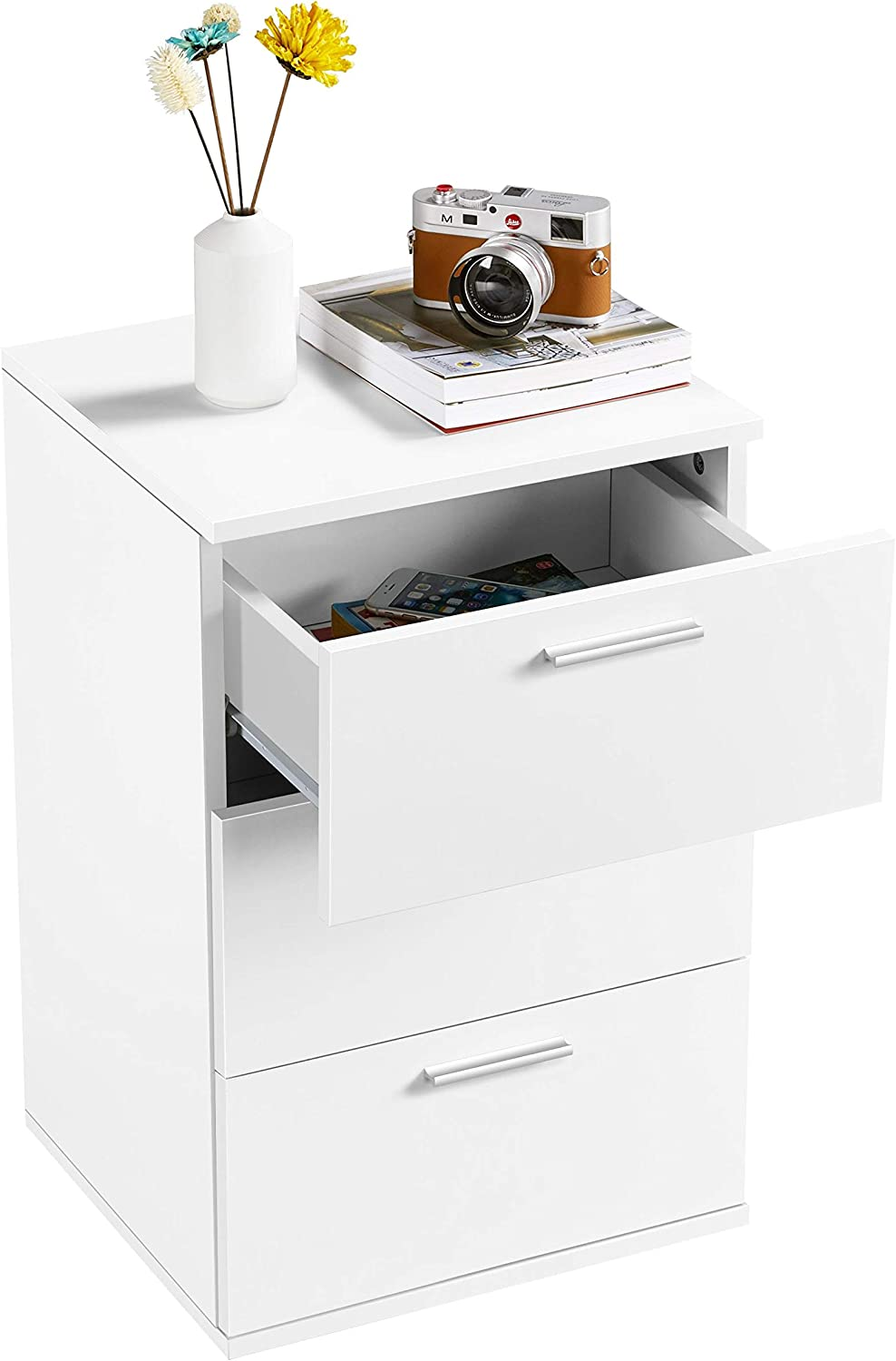 YAHEETECH 3- Drawer Nightstands, Modern Wood End Side Table with Cabinet, Sofa Table, Bed Side Storage Stand Cabinet for Bedroom, White