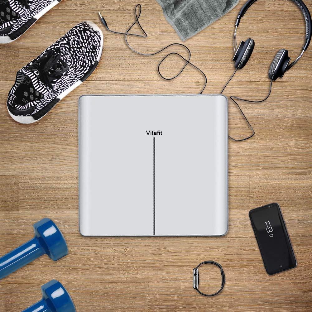 Vitafit Digitale Personenwaage Waage Körperwaage mit Helle LED Anzeige,Hochpräzisions-Sensoren und gehärtetem Weiss Glas,5kg-180kg, Elegante weiß