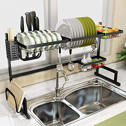Dish Drying Rack Over Sink Display Stand Drainer Stainless Steel Kitchen  Supplies Storage Shelf Utensils Holder (Black)