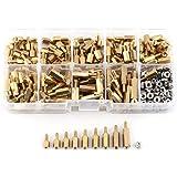 360Pcs M2.5 Standoff Kit Brass,9 Size Male-Female PCB Standoff Spacer+ M2.5 Hex Nuts