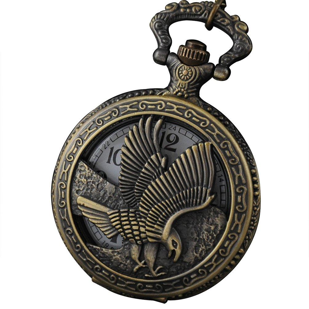 VIGOROSO Cool 3D Eagle Vintage Retro Bronze Steampunk Chain Necklace Pocket Watch