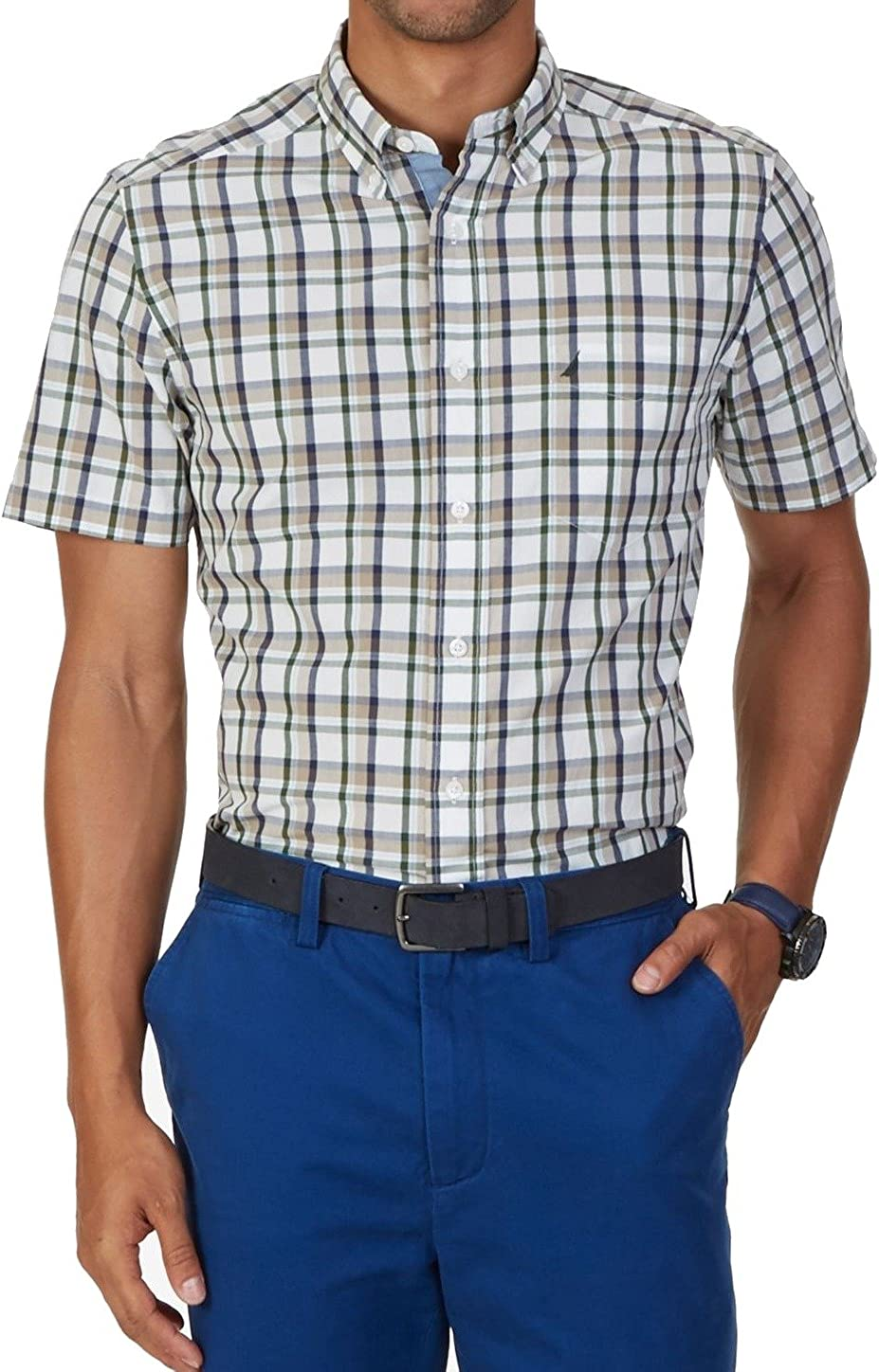Nautica Mens Short Sleeve Plaid Classic Fit Oxford Shirt