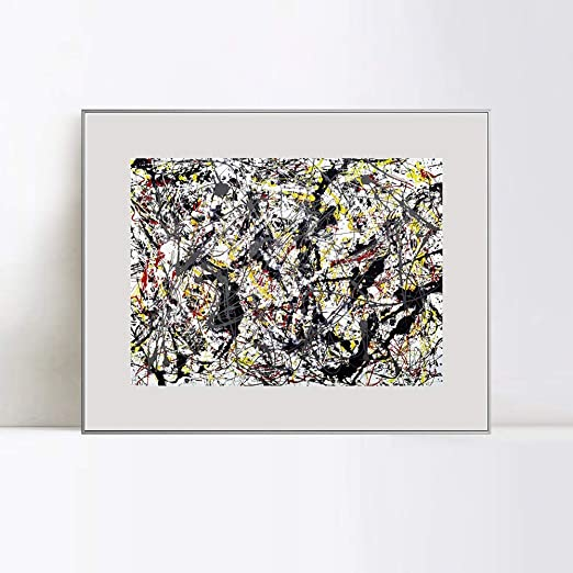 Black and white oilpaint by Jackson Pollock RePRINT ON FRAMED CANVAS Wall Art