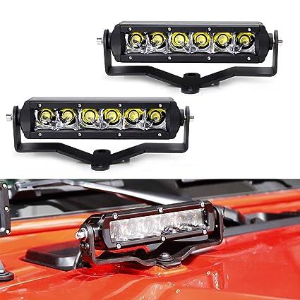 ijdmtoy hood led light bar kit for 2018-up jeep wrangler jl, includes (