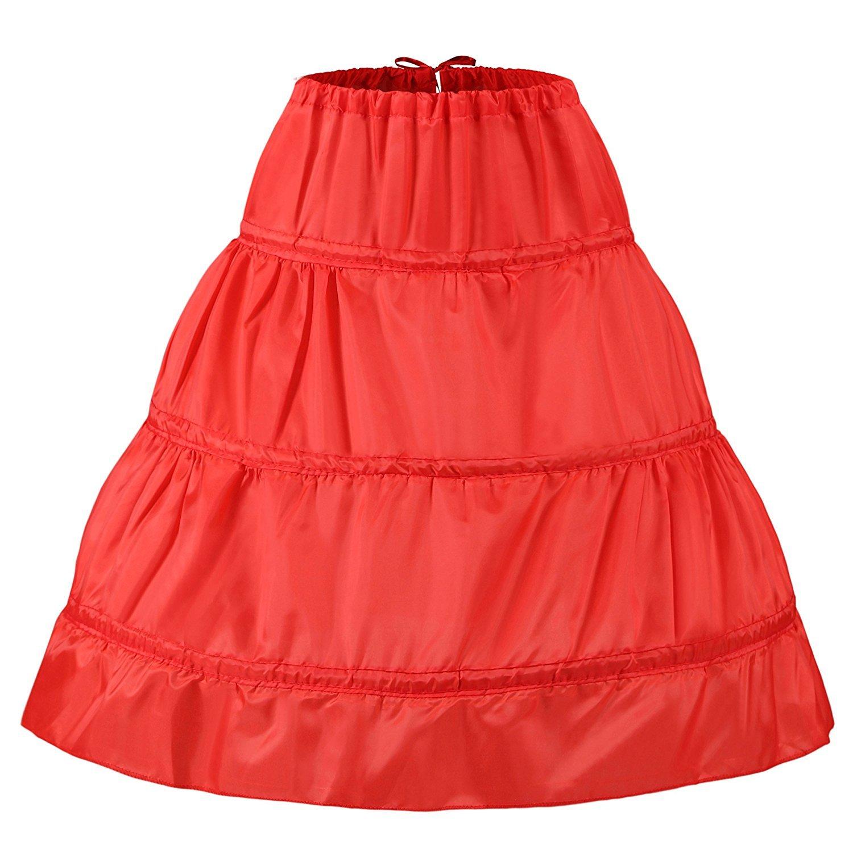 "Noriviiq Kids 3 Hoop Crinoline Petticoat for Flower Girl Dresses Half Slip 25.5"" SCQ09303033-CA"