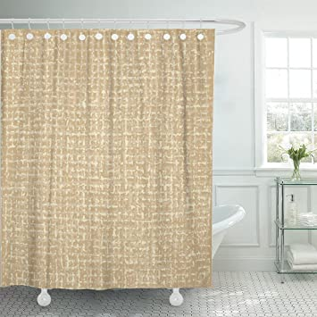 Amazon Emvency Shower Curtain Beige Burlap Sack Brown Hessian Woven Coarse Abstract Canvas Waterproof Polyester Fabric 72 X 78 Inches Set With Hooks