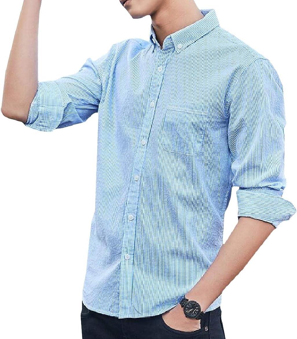 Winwinus Men Cotton Stripe Casual Long-Sleeved Collared Dress Shirts