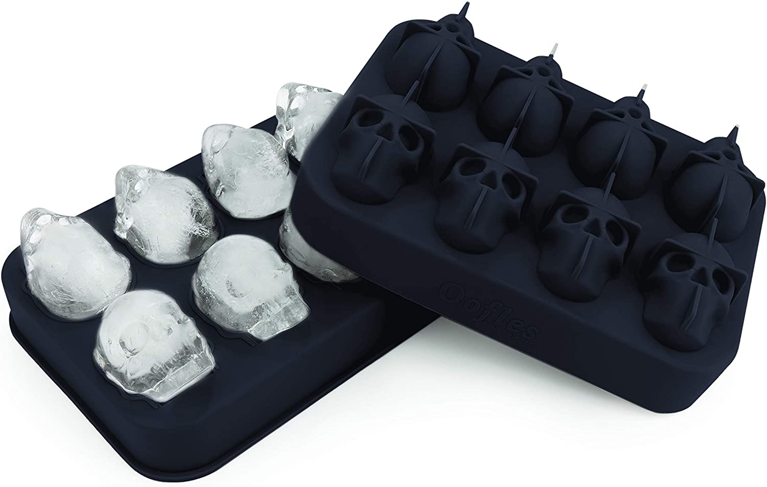 3D Skull Ice Cube Mold Silicone Tray, Makes Skulls, Leak Free, Ice Cube Maker, Whiskey Ice, Chocolate, Soap and Bath Bomb Molds (8, BLUE)