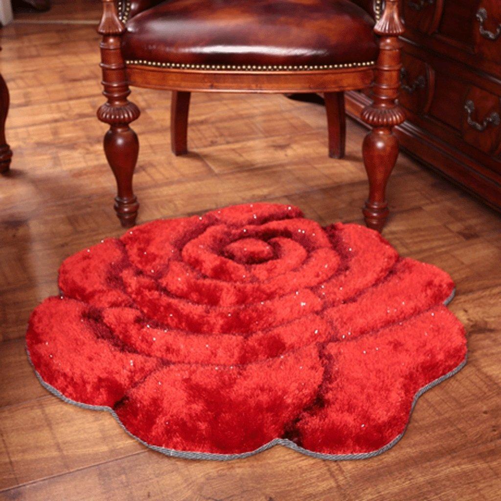 Skandinavien Teppich Verdickung Mode 3D Dreidimensionale Dreidimensionale Dreidimensionale Rosa Einfarbig Schlafzimmer Nachttisch Runde Teppich Teppiche Matte (Farbe   Magenta, größe   Diameter101101cm) B07B934RHW Teppiche 7e6673