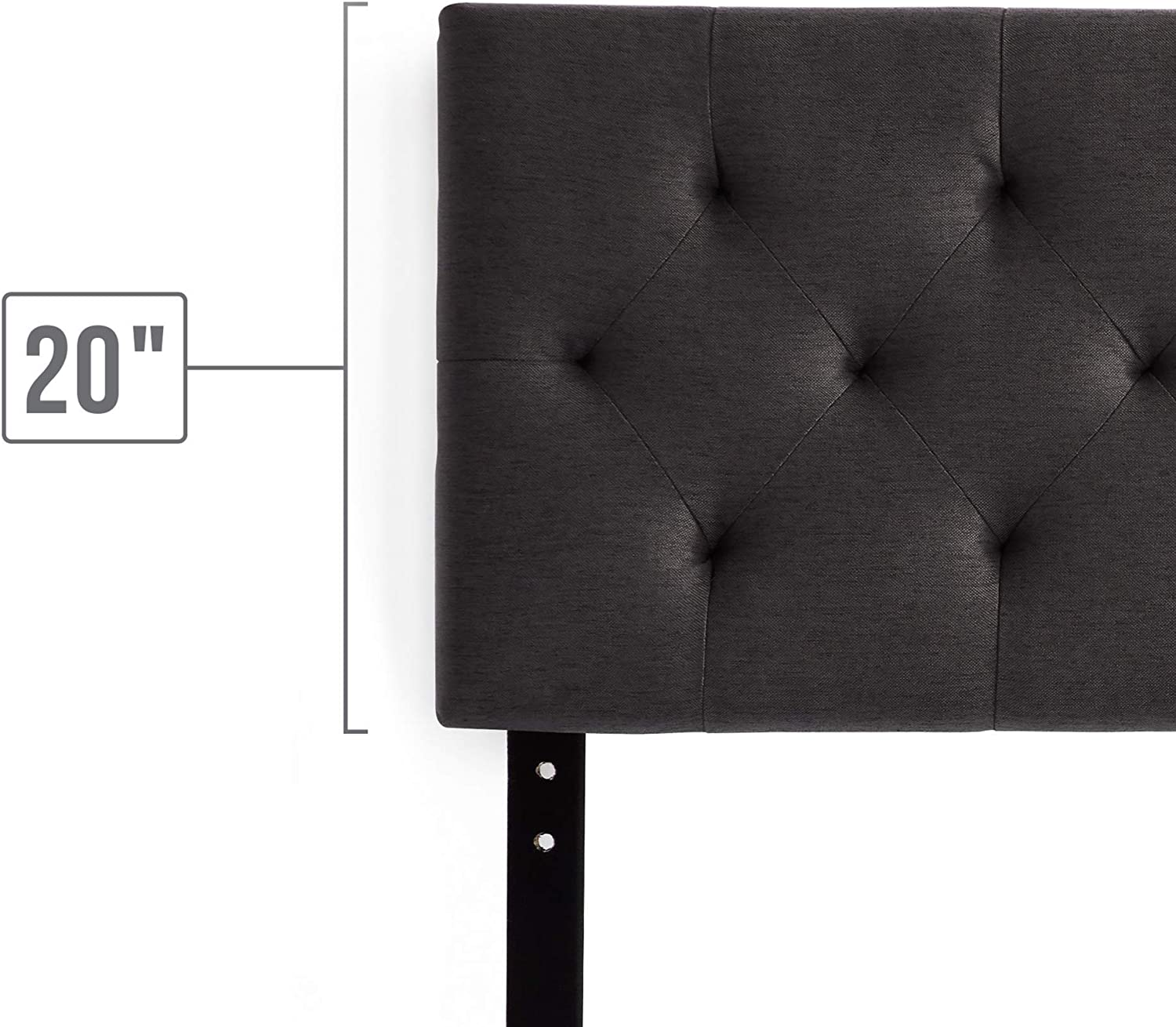 """Charcoal Twin Adjustable Height from 34/"""" to 46/"""" LUCID Mid-Rise Upholstered Headboard"""