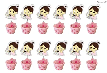 Acobonline 12 Piezas, Pinza madera bautizo de niño, Ideal para Comunión,Bautizo,Boda,Recuerdos,Cumpleaños,Fiesta,Viaje,Invitadas-Baby (Rosa, Maceta)