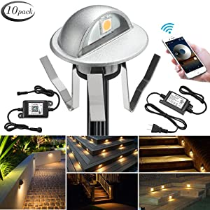 """WiFi Deck Lights, FVTLED WiFi Controlled 10pcs Low Voltage LED Deck Lights Kit Φ1.38"""" Outdoor Recessed Step Stair Warm White LED Lighting Work with Alexa Google Home, Silver"""
