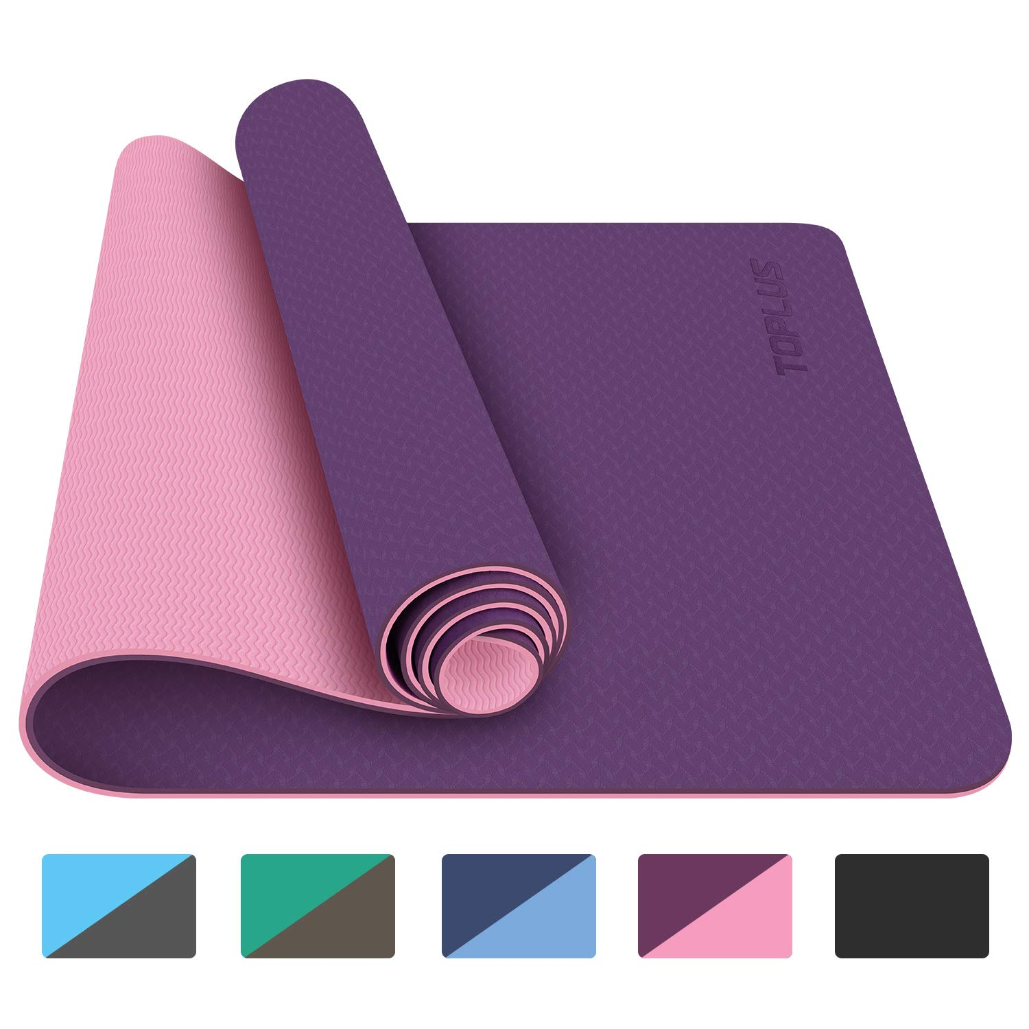 TOPLUS Yoga Mat, 1/4 inch Pro Yoga Mat TPE Eco Friendly Non Slip Fitness Exercise Mat with Carrying Strap-Workout Mat for Yoga, Pilates and Floor Exercises(Purple) by TOPLUS (Image #1)
