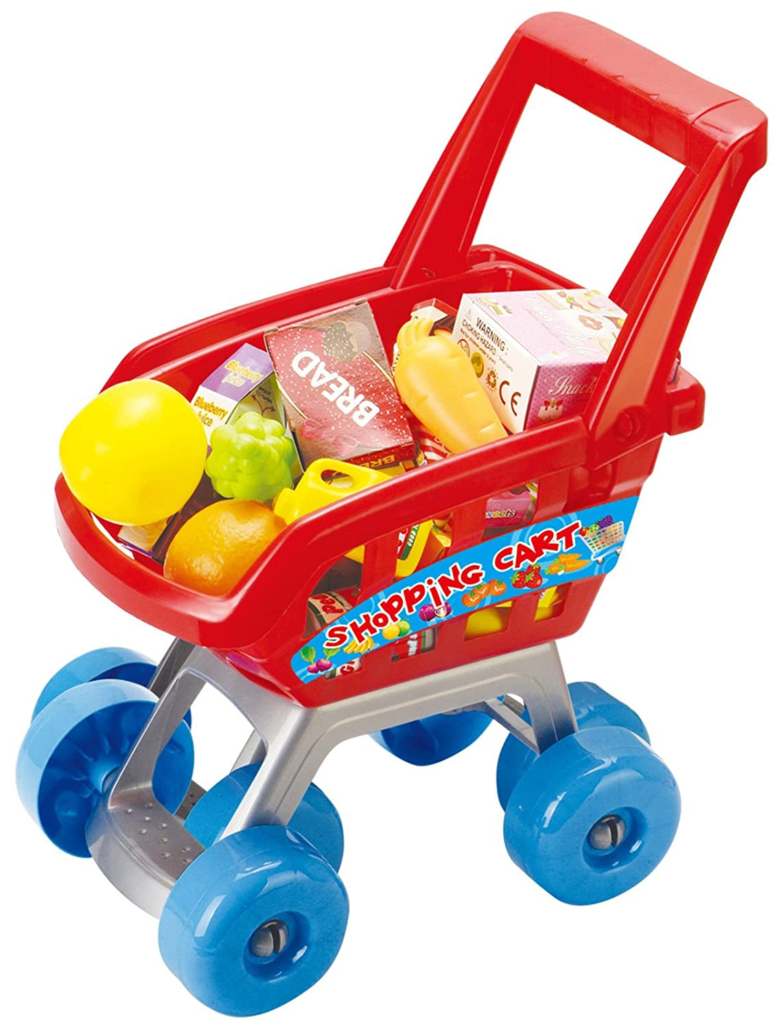 27 Piece Children's Kids Shopping Trolley Cart Role Playing Toy Set Plastic Fruit Boom Light
