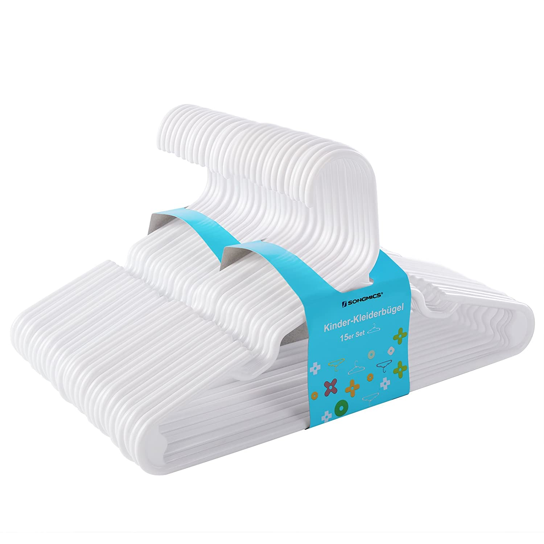 SONGMICS Perchas Infantiles Plástico Set de 30 Muesca Ensanchada Zona Triangular Reforzada 29, 5 cm Blanco CRP06W-30