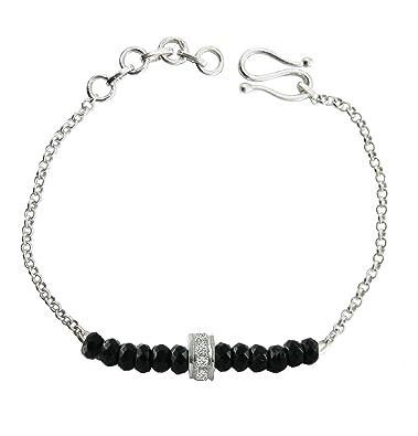 Buy Aastha Jain Black Beads Sterling Silver Bracelet For Women