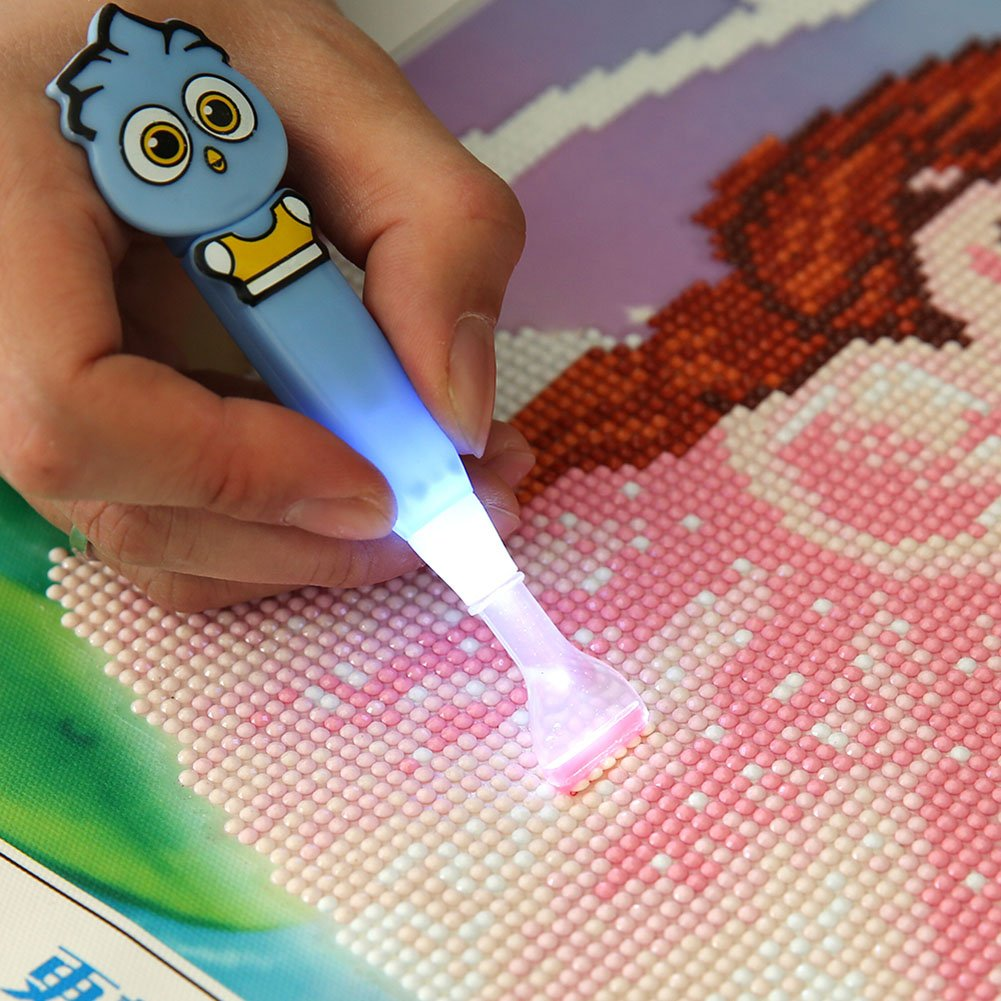 Demiawaking DIY Diamond Drill Pen with LED Light Diamond Painting Tools Quick Point Stylus Pen Cross Stitch Embroidery Kits (Multi Point) DemiawakingUK