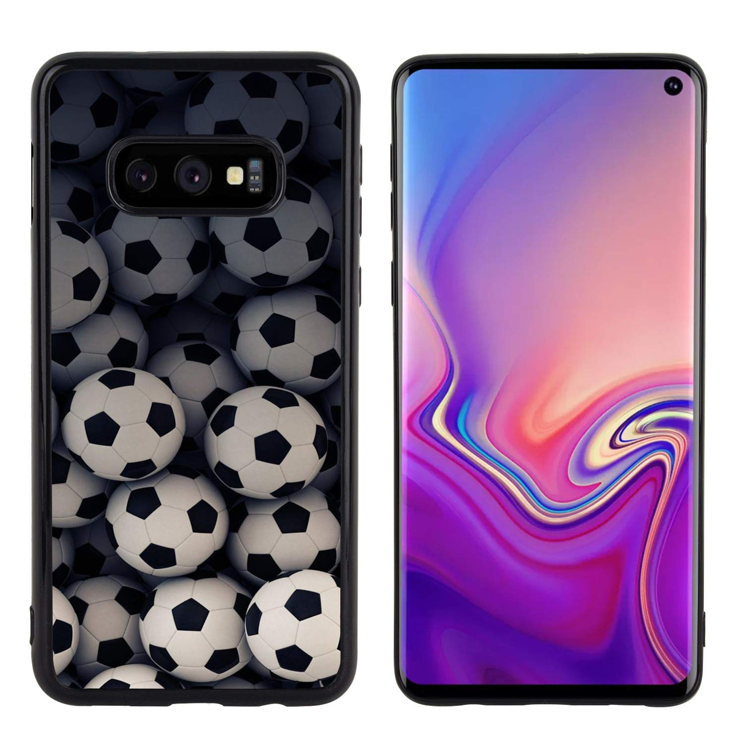 Samsung Galaxy S10e Case Side Black Soft Football Soccer Ball Anti-Scratch Drop Protective Cover Case
