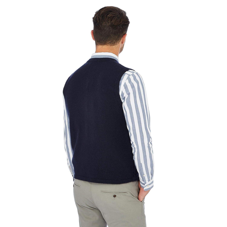 Debenhams Hammond /& Co by Patrick Grant Navy Cable Knit V-Neck Lambswool Rich Waistcoat