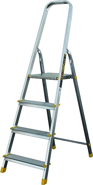 Escalera de aluminio y acero de 4 peldaños sin puerta de herramientas.: Amazon.es: Bricolaje y herramientas