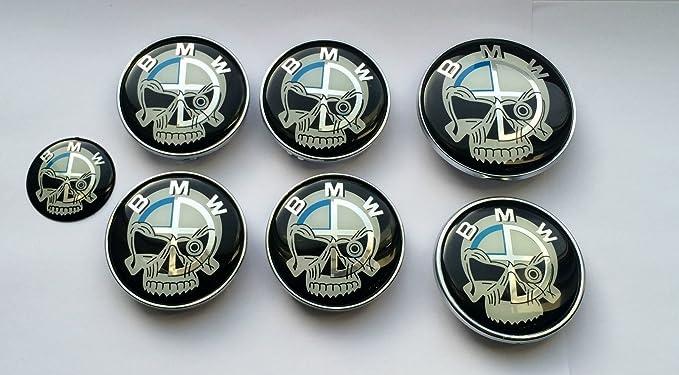 Conjunto de 7 tapas de centro para llantas con el logotipo de BMW y fondo de calavera: Amazon.es: Coche y moto