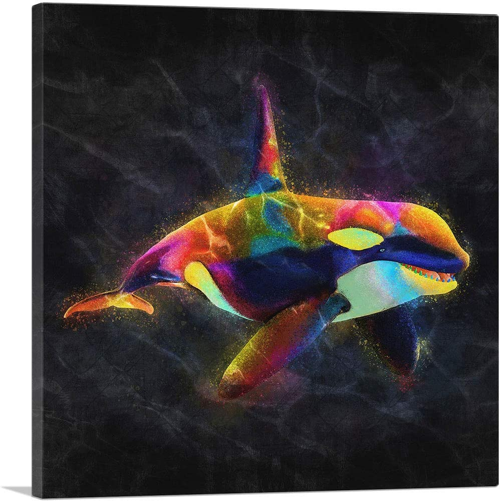 Artcanvas Orca Killer Whale Dolphin Ocean Sea Canvas Art Print 18 X 18 0 75 Deep Posters Prints