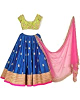 Shreebalaji Collection Women's Silk Multicolor Lehenga Choli (Blueltkan_Free Size)