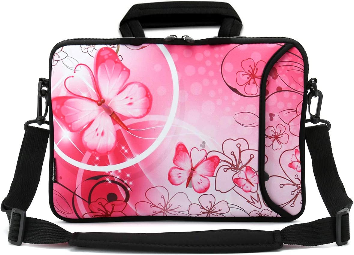 RICHEN 9.7 10 10.1 10.2 inches Messenger Bag Carring Case Sleeve with Handle Accessory Pocket Fits 7 to 10-Inch Laptops Notebook ebooks Kids Tablet Pad 7-10.2 inch, Pink Butterfly