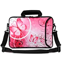 RICHEN 14 15 15.4 15.6 inch Laptop shoulder bag Messenger Bag Case Notebook Handle Sleeve Neoprene Soft Carring Tablet Travel Case with Accessories pocket for ASUS/HP/DELL/Macbook/Acer and more (14-15.6 inch, Pink Butterfly)