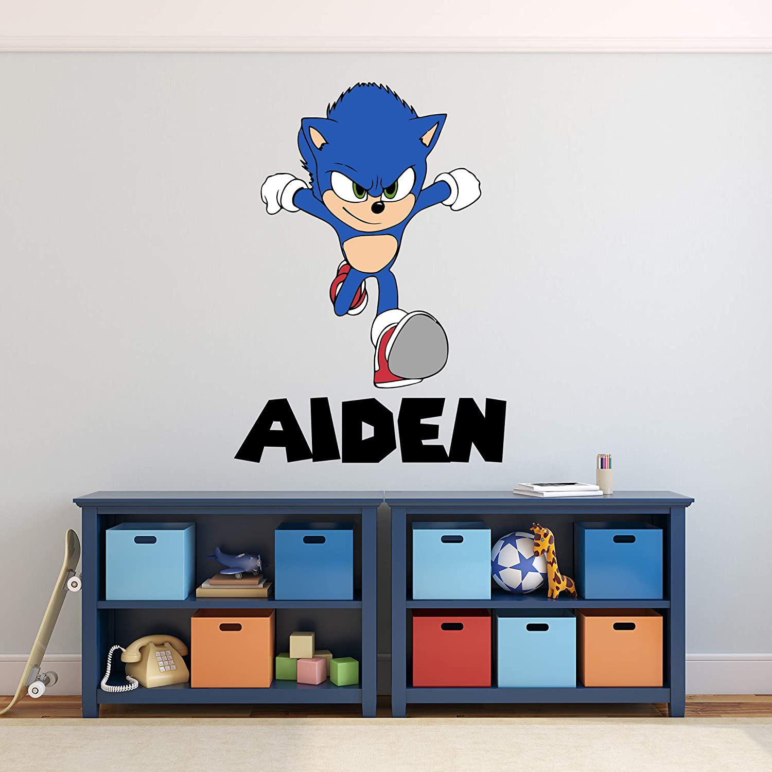 """Custom Name Wall Decal Adventure Sonic Wall Art Boys Kids Room Bedroom Decor Mural Decal Gift Custom Hedgehog Game Wall Decor Removable Vinyl Wall Stickers for Kids (20""""H x 14""""W inches)"""