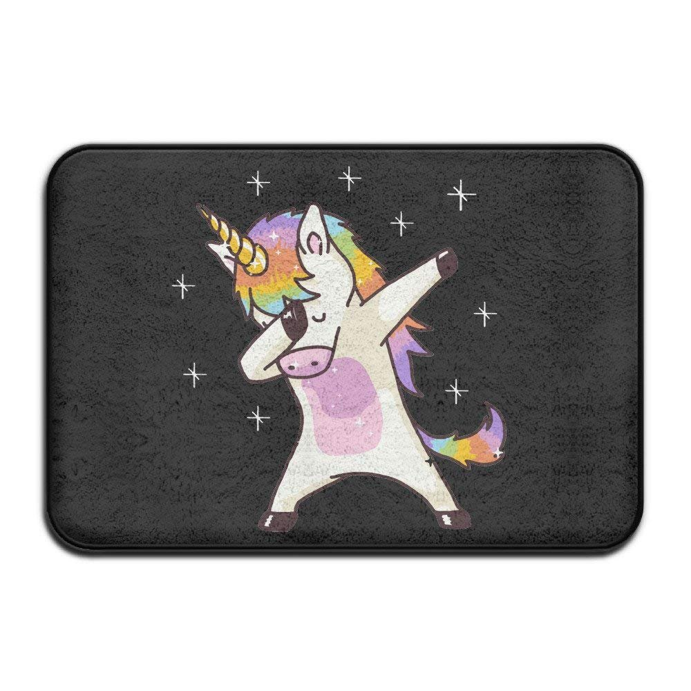 Soft Non-Slip Unicorn Cute Dabbing Funny Dab Dance Gift Bath Mat Coral Rug Door Mat Entrance Rug Floor Mats for Front Outside Doors Entry Carpet 18'' x 30'' Inches