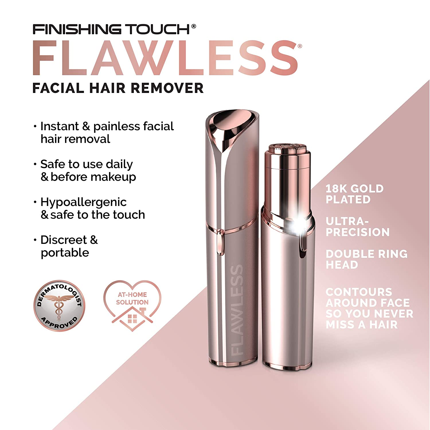 Amazon Com Finishing Touch Flawless Women S Painless Hair Remover Blush Rose Gold Beauty