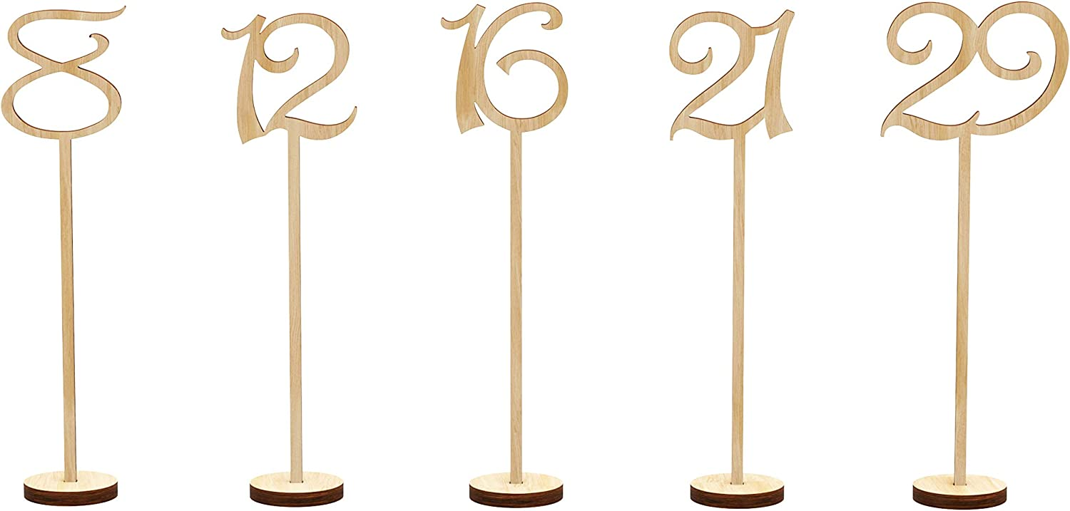 Wooden Table Numbers 1-30 Wedding Decor Centerpieces Thick Heavy Duty Tall Natural Signs Holder Vintage Decorations For Reception Cafe Restaurant Hotel Party Home Birthday Anniversary Banquet Catering