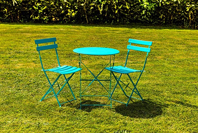 Kingfisher Turquoise Metal Bistro Set