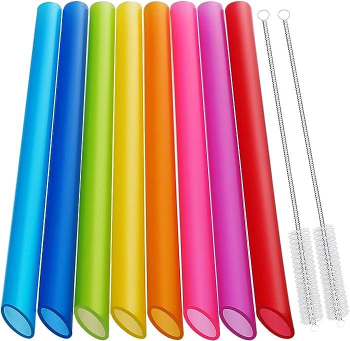 [Angled Tips] 8 Pcs Reusable Boba Straws & Smoothie Straws - Multi Colors Jumbo Wide Reusable Straws, BPA FREE Food-Grade Plastic Straws for Bubble Tea(Tapioca, Boba Pearls), Milkshakes with 2 Brushes