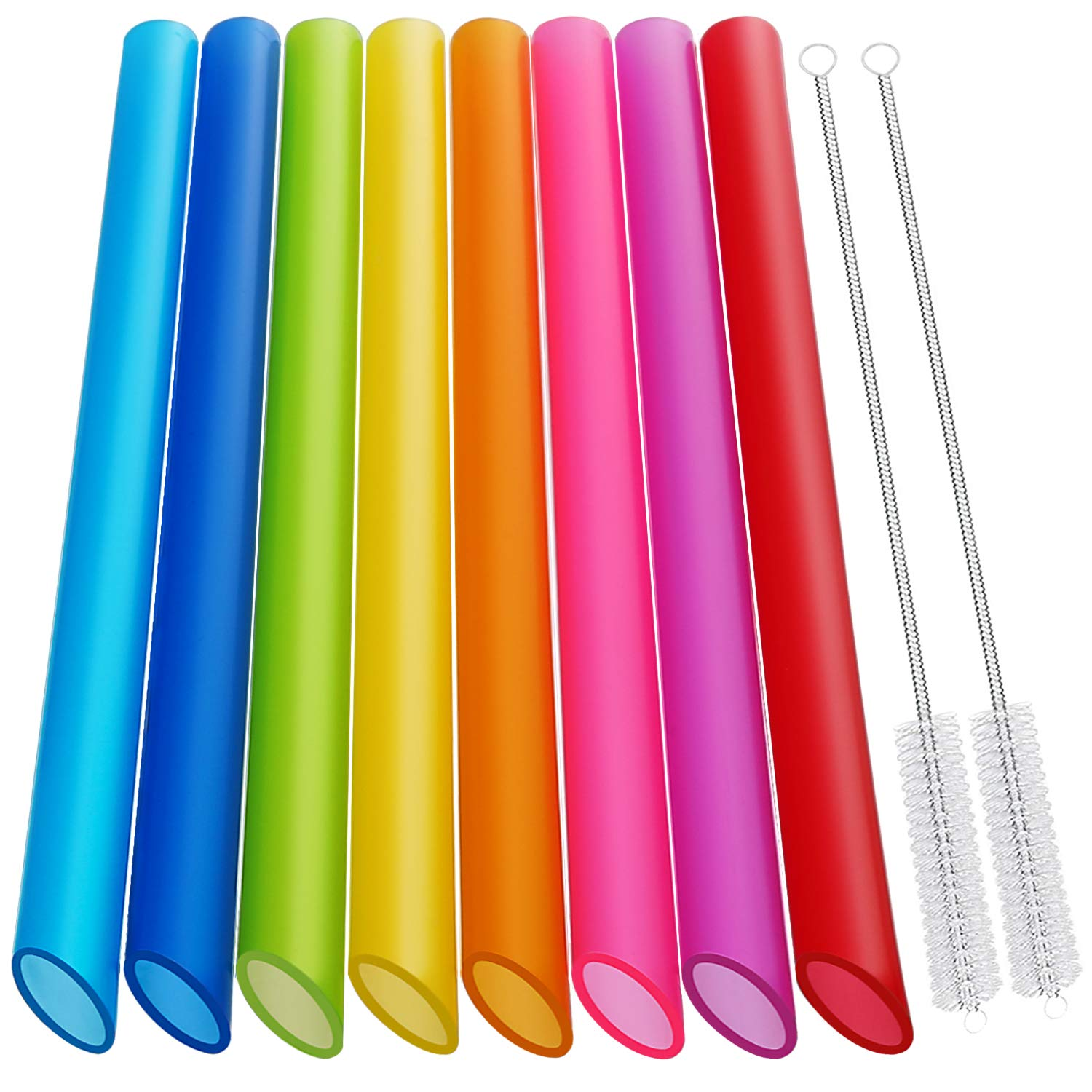 [Angled Tips] 8 Pcs Reusable Boba Straws & Smoothie Straws - Multi Colors Jumbo Wide Reusable Straws, BPA FREE Food-Grade Plastic Straws for Bubble Tea(Tapioca, Boba Pearls), Milkshakes with 2 Brushes
