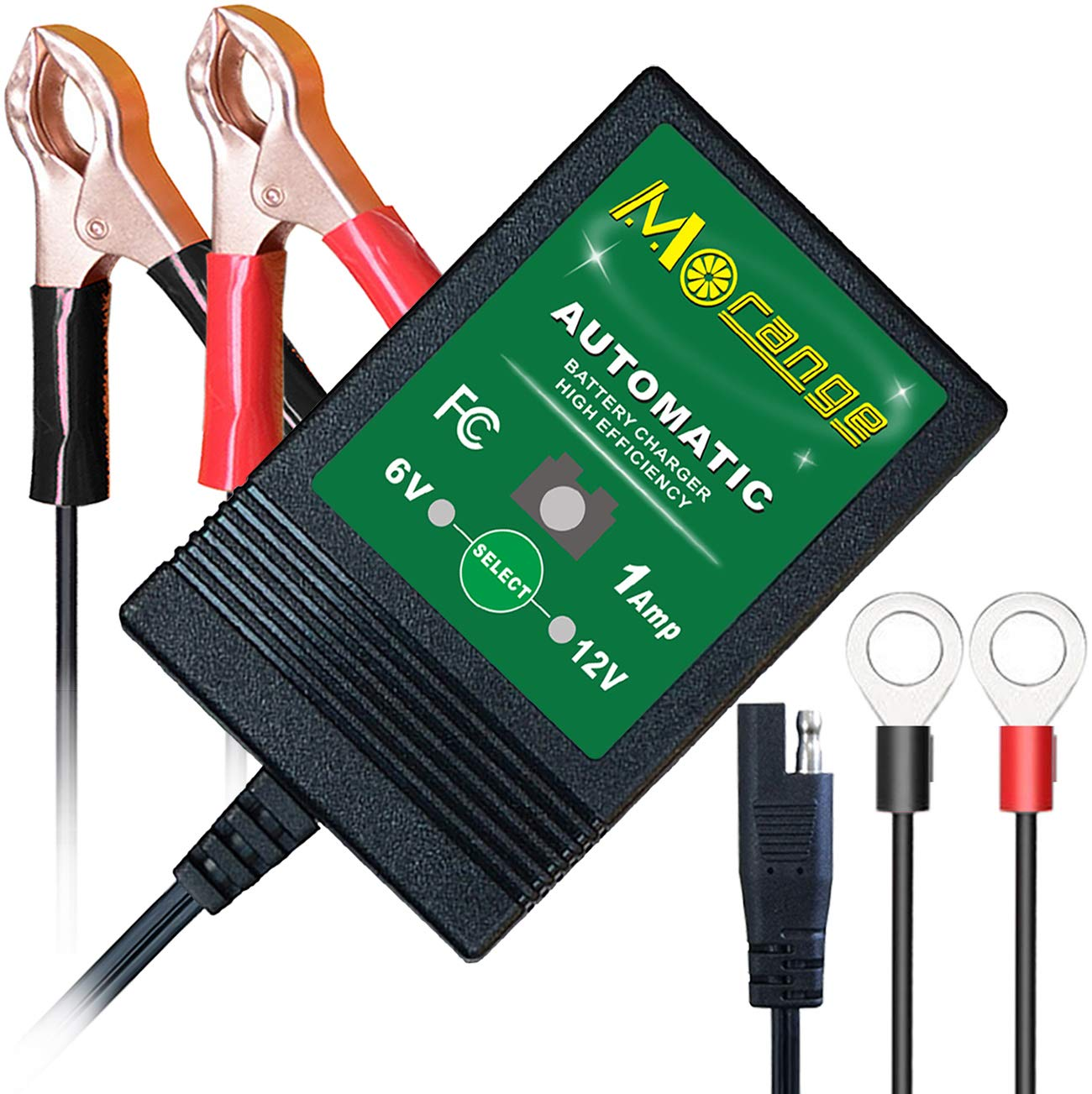 Mroinge MBC016 6V / 12V 1A fully automatic trickle battery charger/maintainer for automotive vehicle motorcycle Lawn Mower ATV RV powersport boat, ...