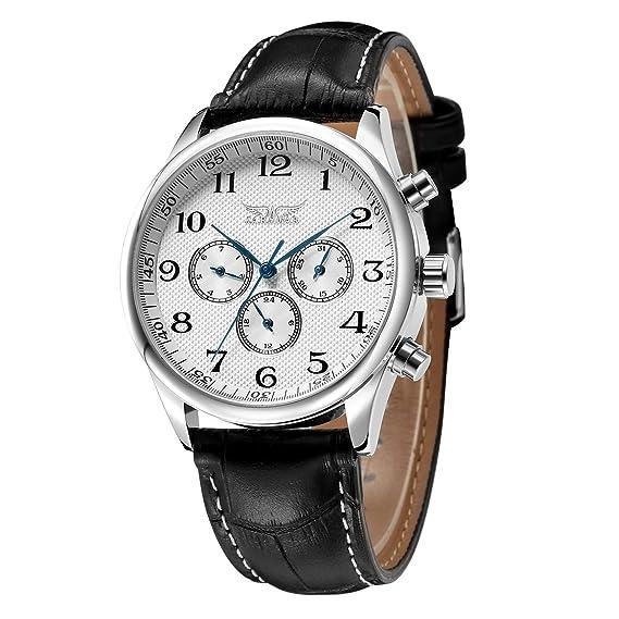 GuTe - Reloj de pulsera para hombre, estilo clásico, de cuarzo, con esfera blanca, manecillas de color azul y correa de piel sintética: Amazon.es: Relojes