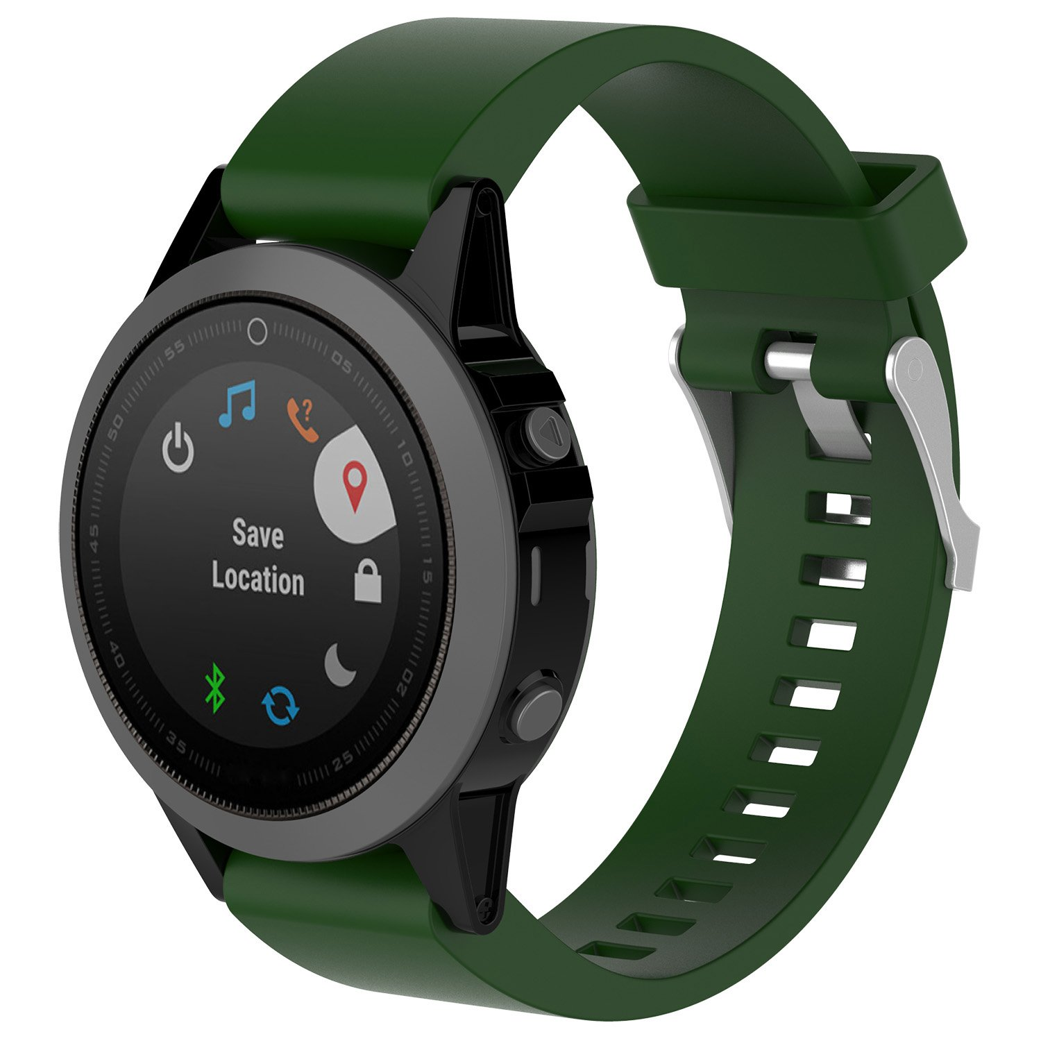 XIHAMA for Garmin Fenix 5X Silicone Band, 26mm Silicagel QuickFit Replacement Band Strap Sport Strap Band Fitness Wristband Barcelet with Holes Breathable for Garmin Fenix 5X GPS (Army-green)