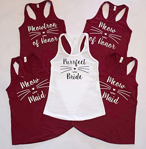 8ec4107447df1 Purrfect Bride - Meow Maid - Meow of Honor racerback tank top! With cat  face and whiskers Cat lovers wedding! Bridal party shirts - Wedding Tanks,  crew ...