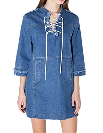3358f912058 Richlulu Womens Retro Lace Up Jean Raw Edge Denim One Piece Dress at ...
