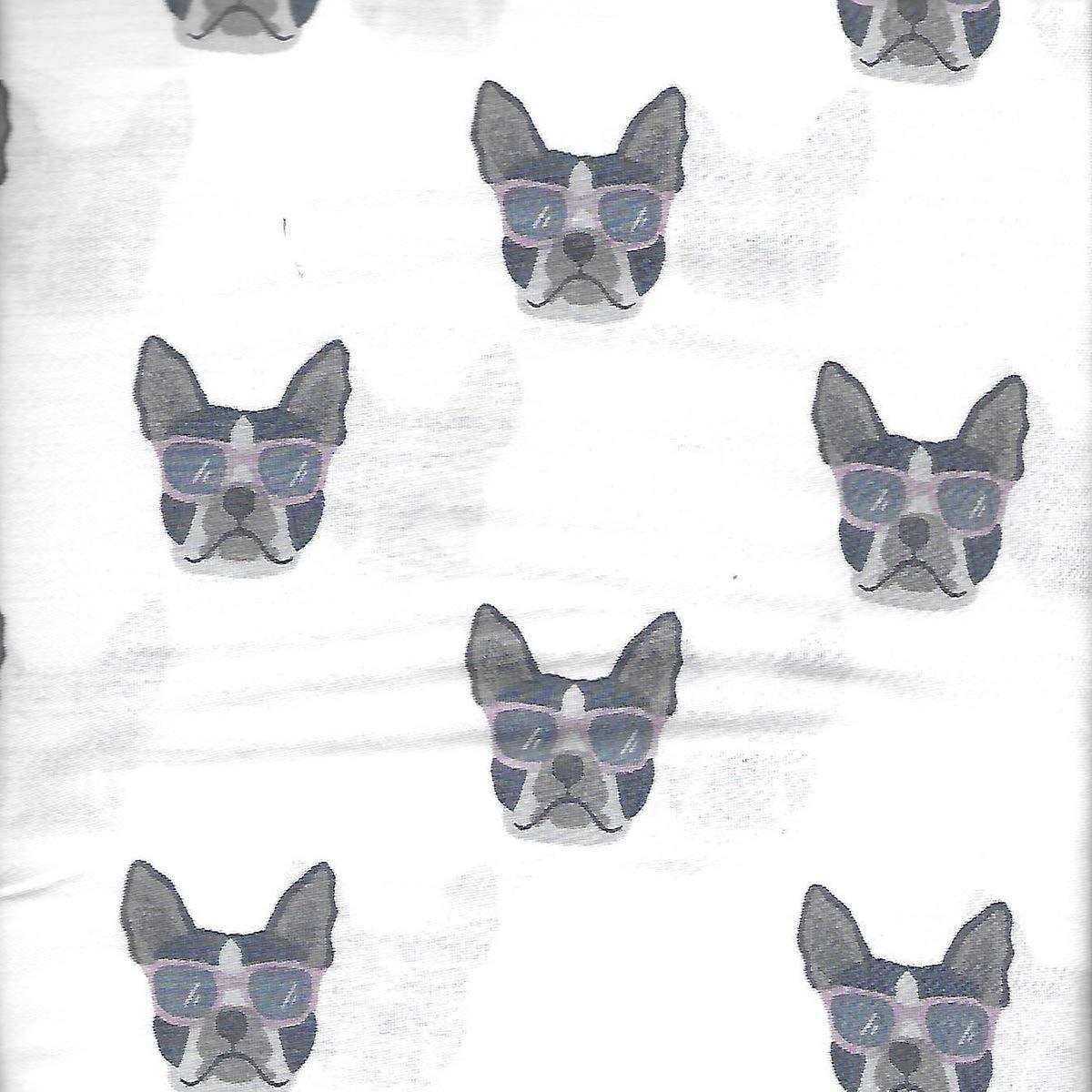 Queen London Kaye Cute French Bulldog Faces Wearing Sunglasses 4 Piece Novelty Sheet Set