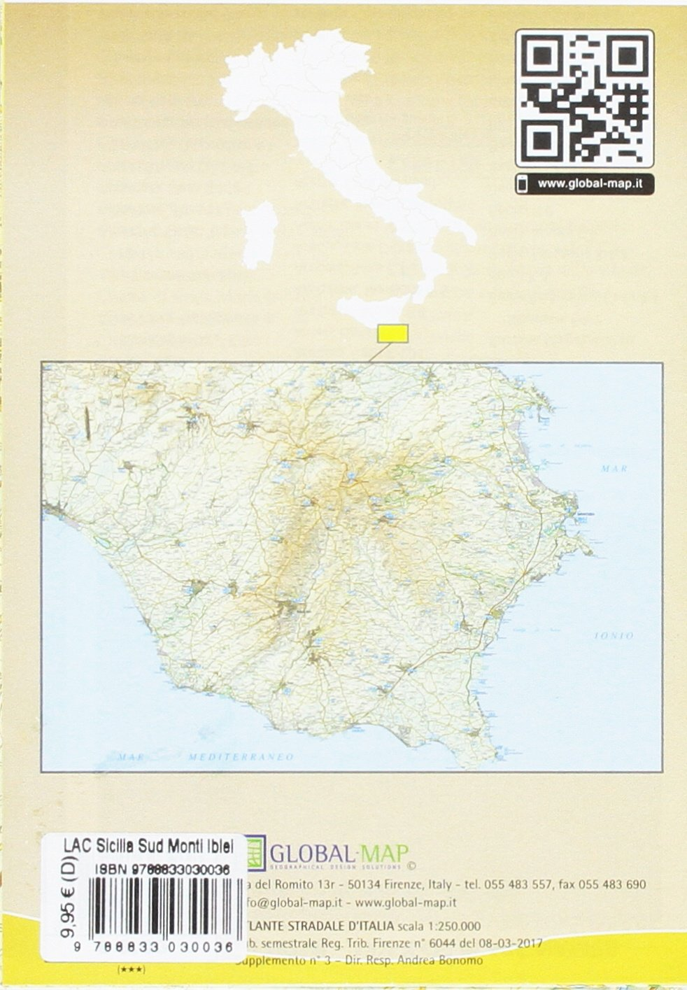 Cartina Geografica Sicilia Sud Orientale.Amazon It Sicilia Sud Orientale Carta Turistico Stradale 1 120 000 Cm 97x67 Global Map Libri