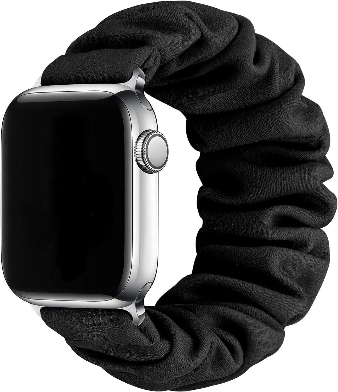 MORETEK Compatible for Scrunchie Apple Watch Bands 38mm 40mm 42mm 44mm,Soft Elastic Wristband Bracelet Women Fabric Scrunchy Band for iWatch Series 6 SE 5 4 3 2 1(Black,42mm/44mm-S)