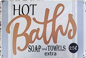 PXIYOU Rustic Hot Baths Vintage Metal Sign Farmhouse Bathroom Wall Art Country Farmhouse Home Decor Sign 8X12Inch